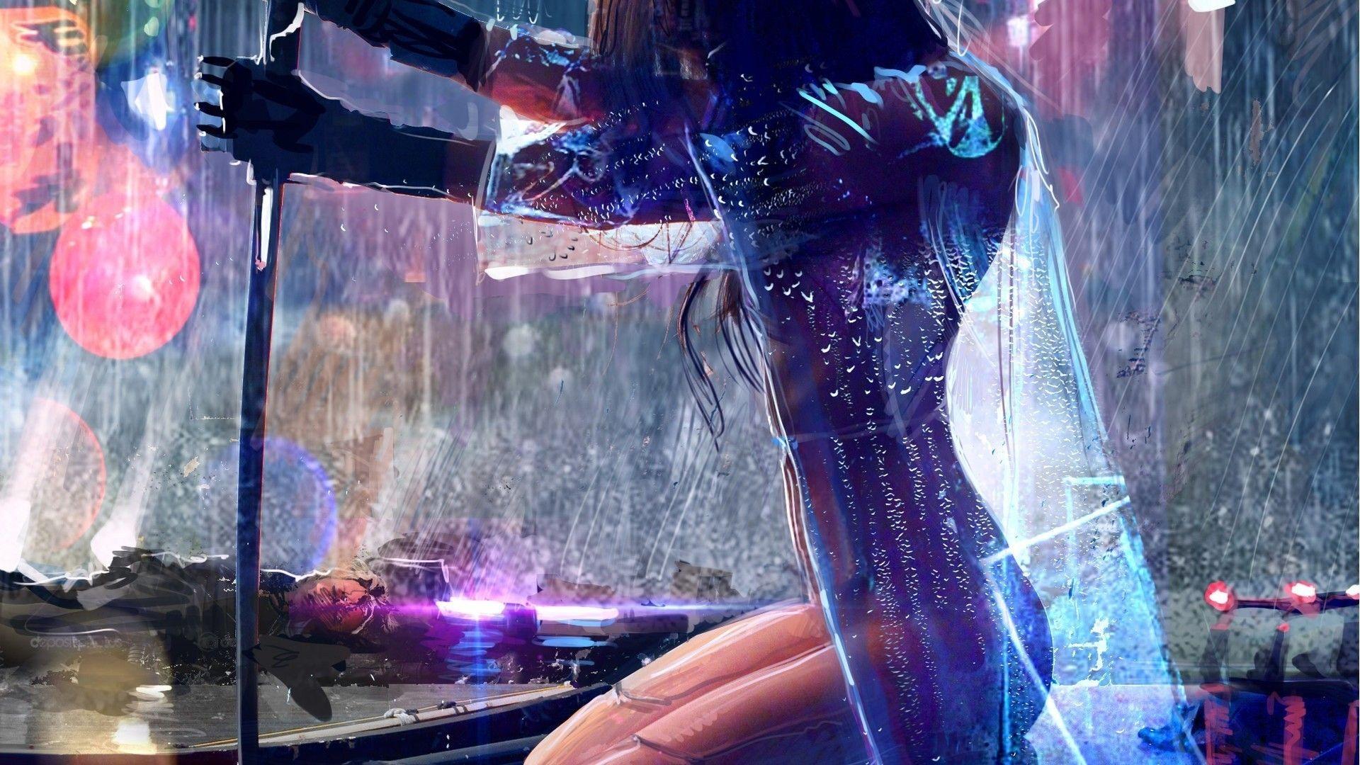 General 1920x1080 artwork rain cyberpunk sword futuristic