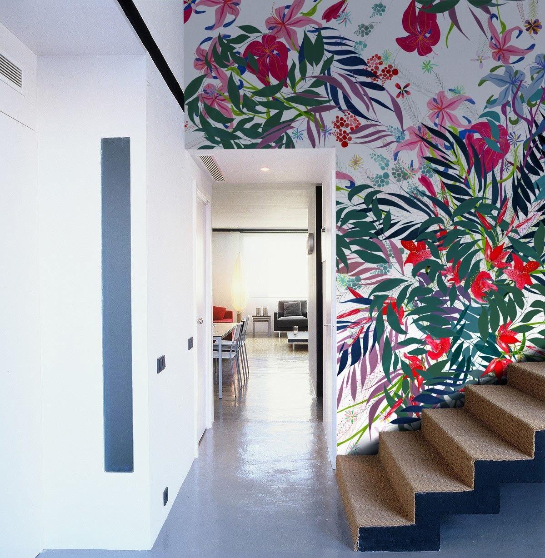 Mural flores vivas creatividad en casa pinterest papel pintado murales y decoracion de pared - Pintar mural en pared ...