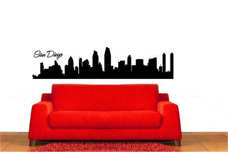 San Diego City Skyline Vinyl Wall Decal Sticker Graphic