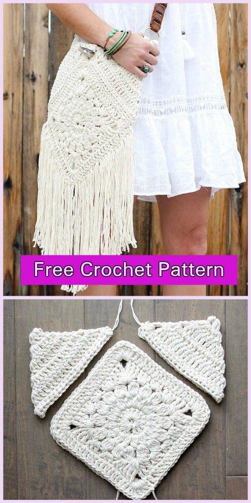 Crochet Boho Crossbody Bag Free Patterns | Crochet de verano, Bolsos ...