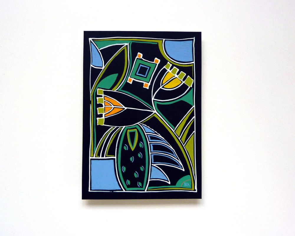 Contemporary Art Deco painting, 20th century modern, mixed media ...
