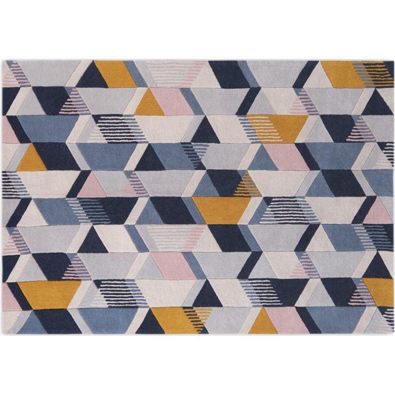 Ava Geometric Hand Tufted Wool Rug Large 160 X 230cm Tonal Blue Hot Pink Bedroom Decor Large Wool Rugs Geometric