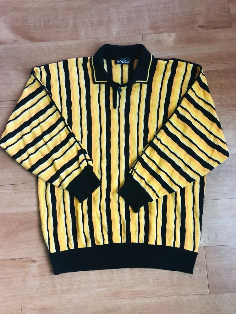 Carlo Colucci Yellow And Black Sweater Size Xl Fashion Clothing Shoes Accessories Mensclothing Sweaters Ebay Link Sweater Sizes Sweaters Black Sweaters