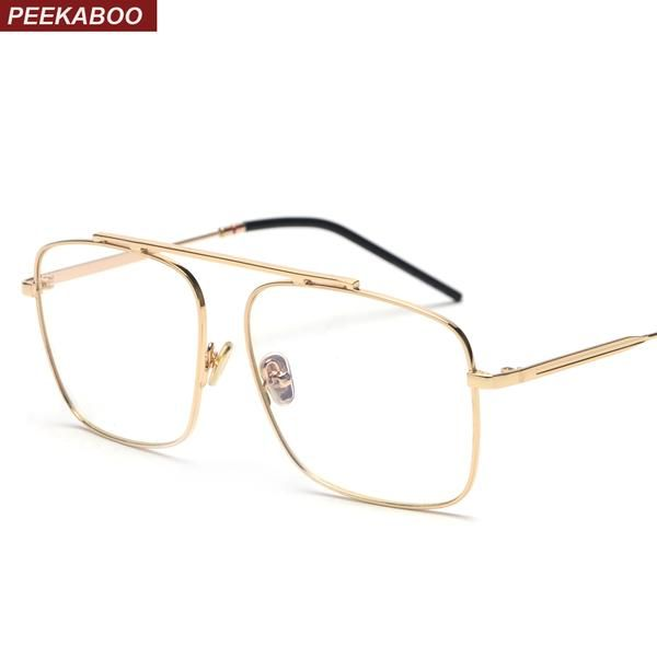 58dcfca523 Peekaboo Square Glasses Frame Women Gold Metal 2018 Brand Designer Flat Top  Big Eyeglasses Optical Frame