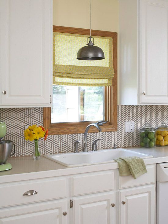 We love this classic penny tile backsplash see more ideas for Kitchen penny backsplash