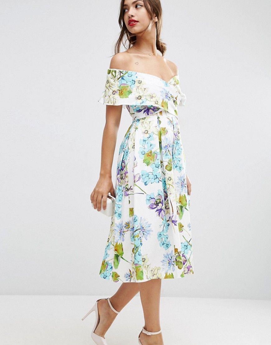 db8f04102214 Image 4 of ASOS Bardot Midi Prom Dress with Beautiful Blue Florals ...