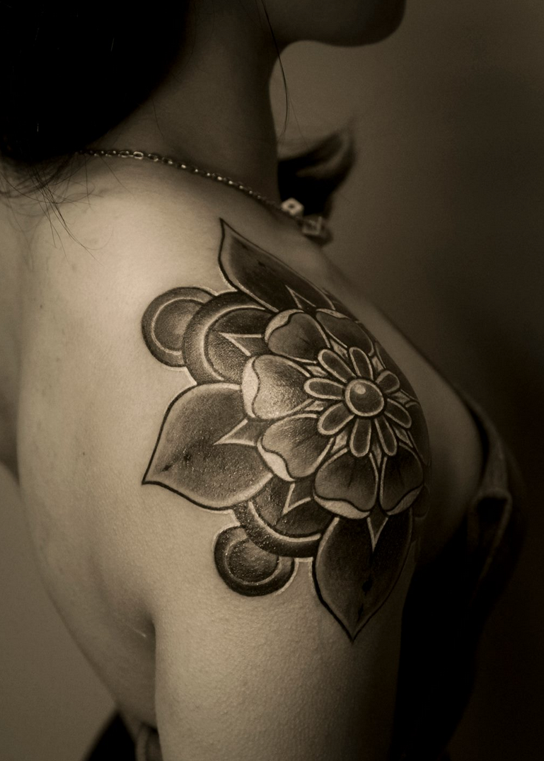 Intricate Rose Bud Shoulder Tattoo for Women | Tattoos ...
