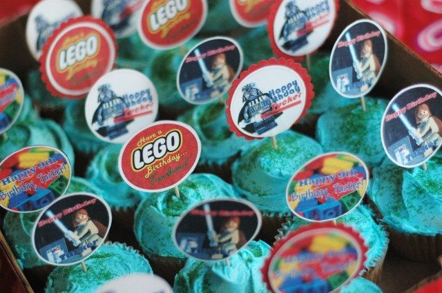 Lego cupcake toppers.