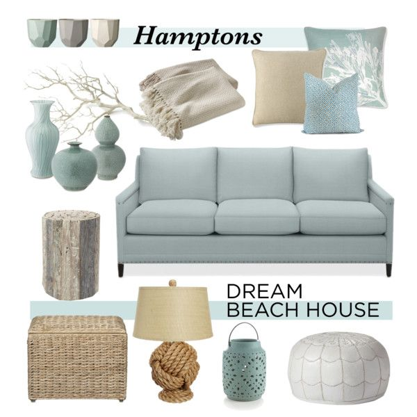 Hamptons Dream Beach House by coastal-style on Polyvore featuring interior, interiors, interior design, home, home decor, interior decorating, Williams-Sonoma, Serena & Lily, Pottery Barn and Crate and Barrel