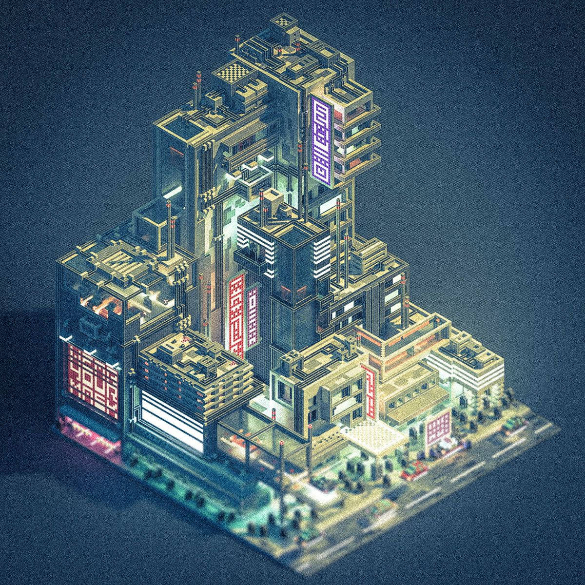 Created A Little Futuristic City In Voxels With Magica Voxel And Animated It In Unity Sci Fi City Futuristic City Cyberpunk City