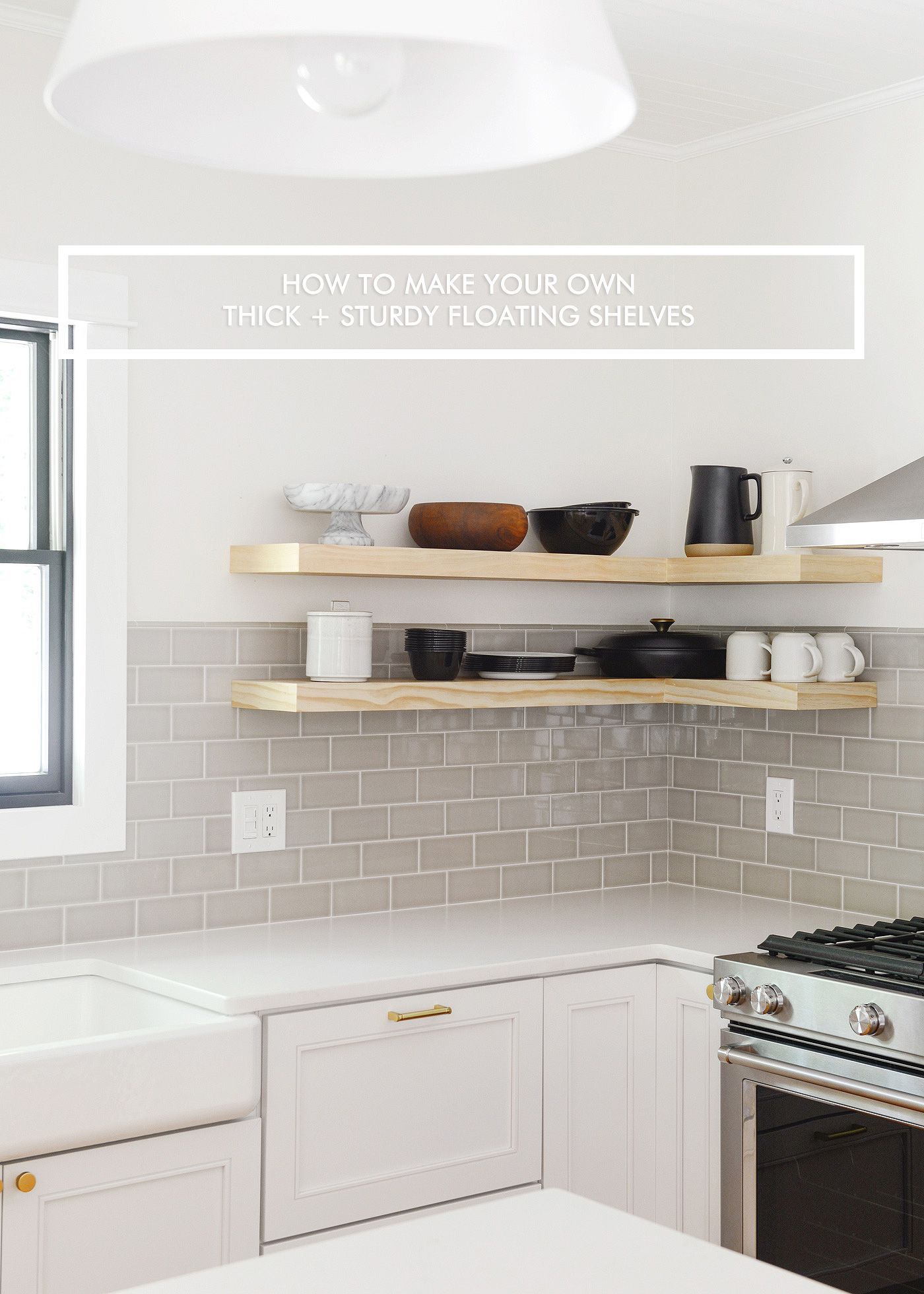 How We Made Thick Floating Shelves A Video Diy Floating Shelves Kitchen Floating Shelves Diy Floating Shelves Kitchen