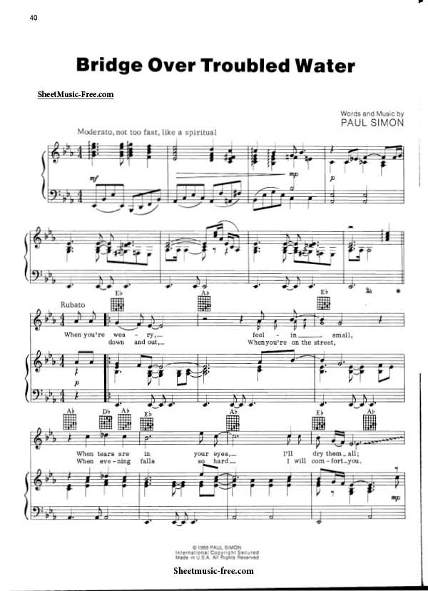 Bridge Over Troubled Water Sheet Music Simon And Garfunkel With