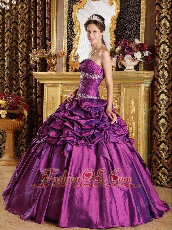 Simple Purple Quinceanera Dress Strapless Pick-ups Taffeta Ball Gown ...