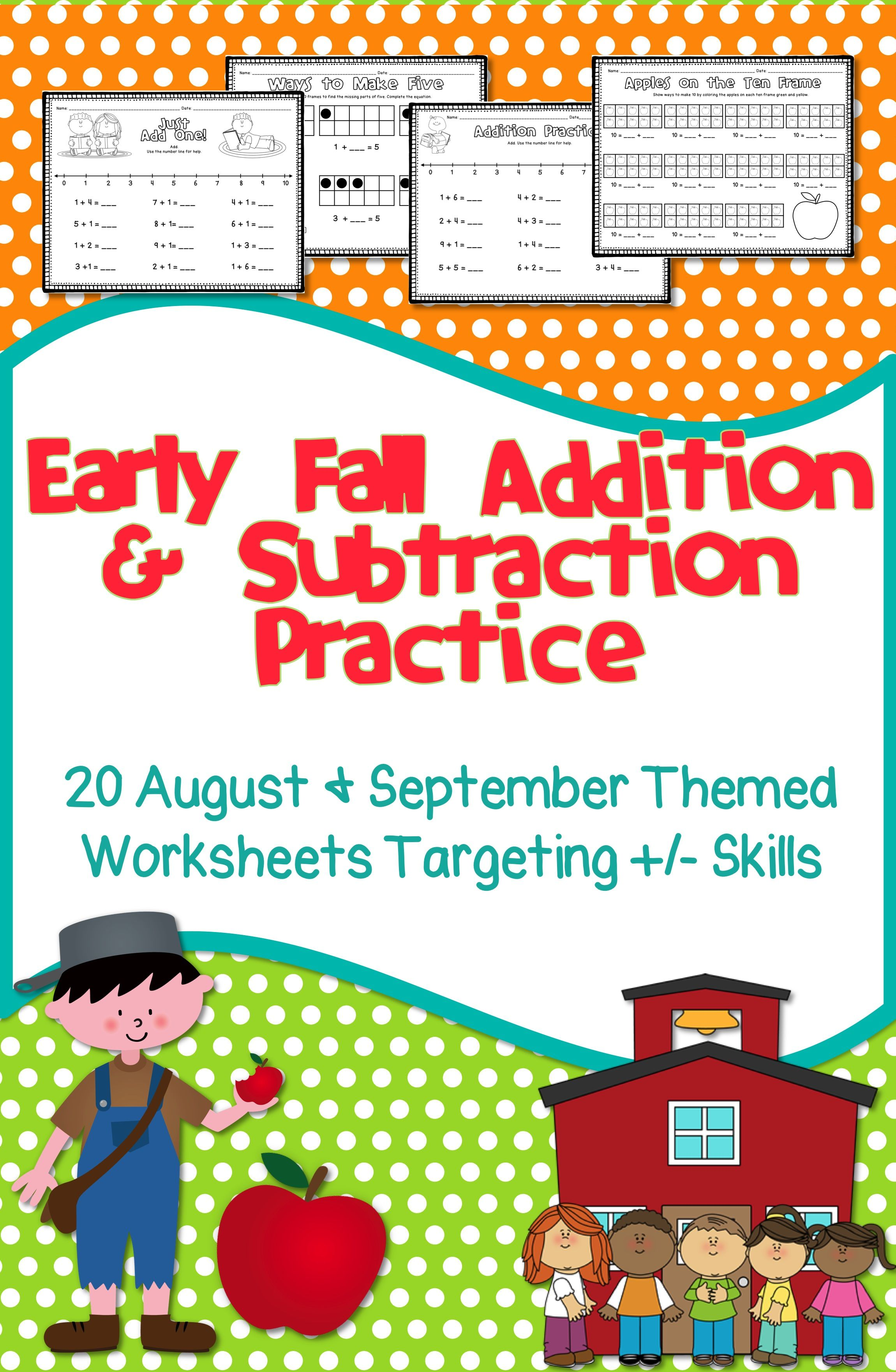 Fall Math Addition Subtraction Practice Subtraction Worksheets
