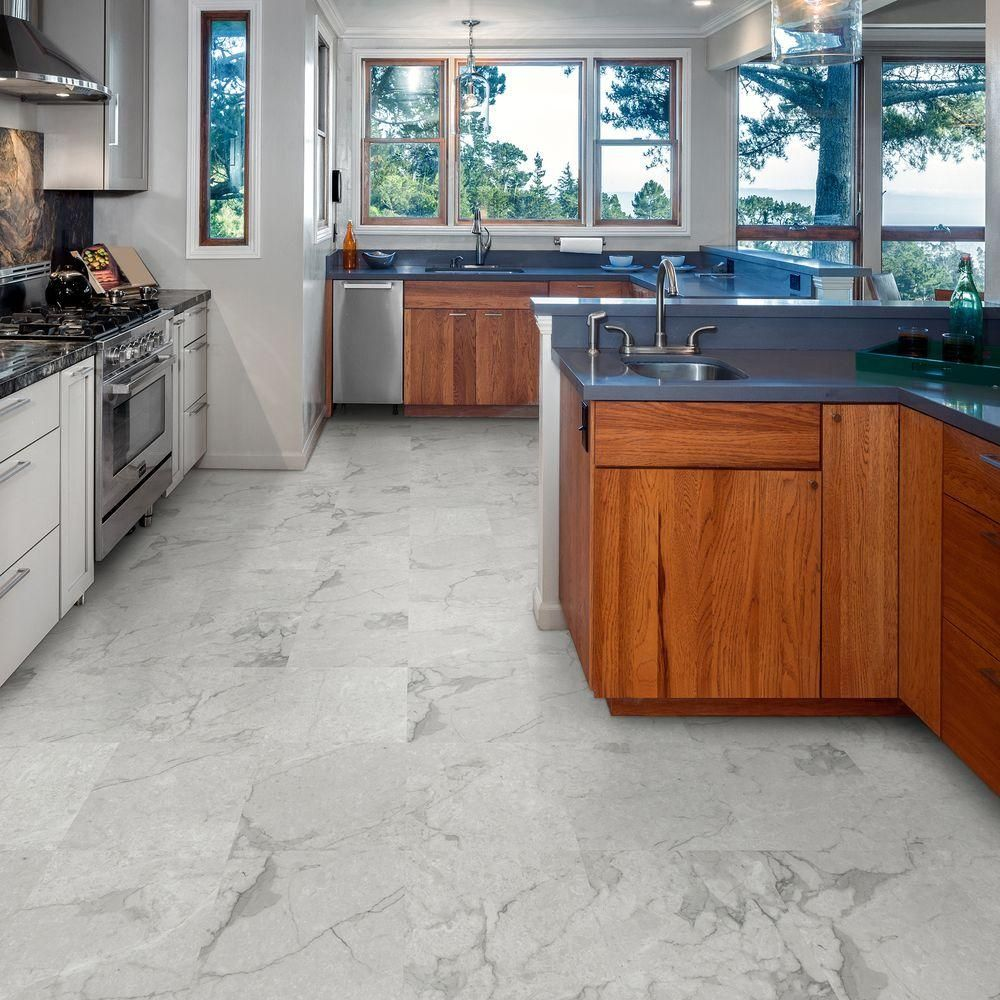 Trafficmaster Premium 12 In X Grey Marble Vinyl Tile 30 Sq Ft Case 465103c The Home Depot