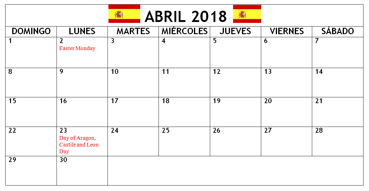 april 2018 spain holidays calendar