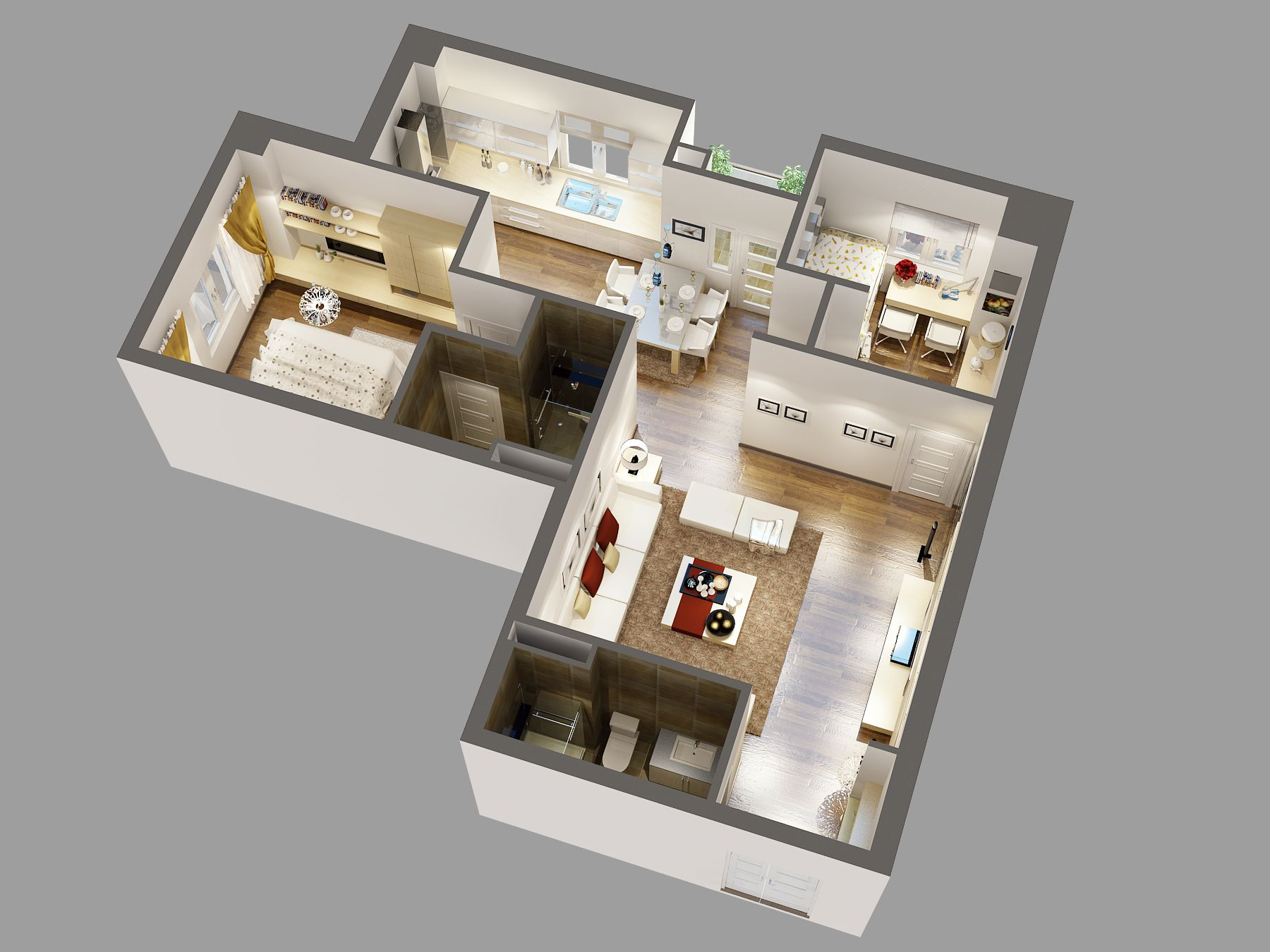 Detailed House Cutaway 3d Model With Images Small Room Design