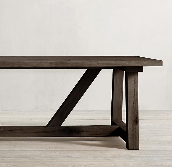 Reclaimed Russian Oak Farmhouse Dining Table Rectangular Table