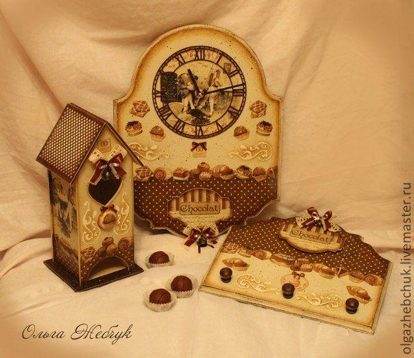 """Комплект для кухни """"Шоколадная фантазия"""" - коричневый,чайный домик декупаж"""