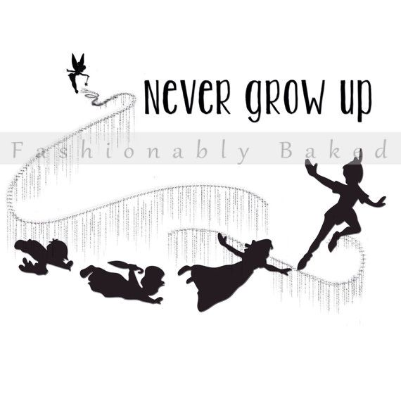Peter Pan and gang shadow silhouettes flying