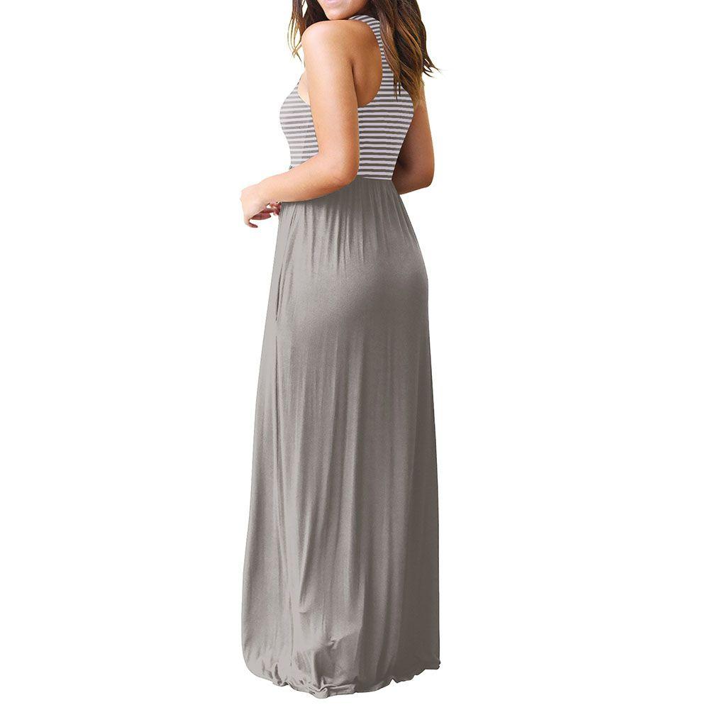 5f41454961ad Sleeveless Loose Plain Tank Top Long Dress Beach Maxi Dresses with Pockets  for Women#Tank, #Top, #Long