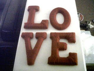 Yarn wrapped L-O-V-E letters