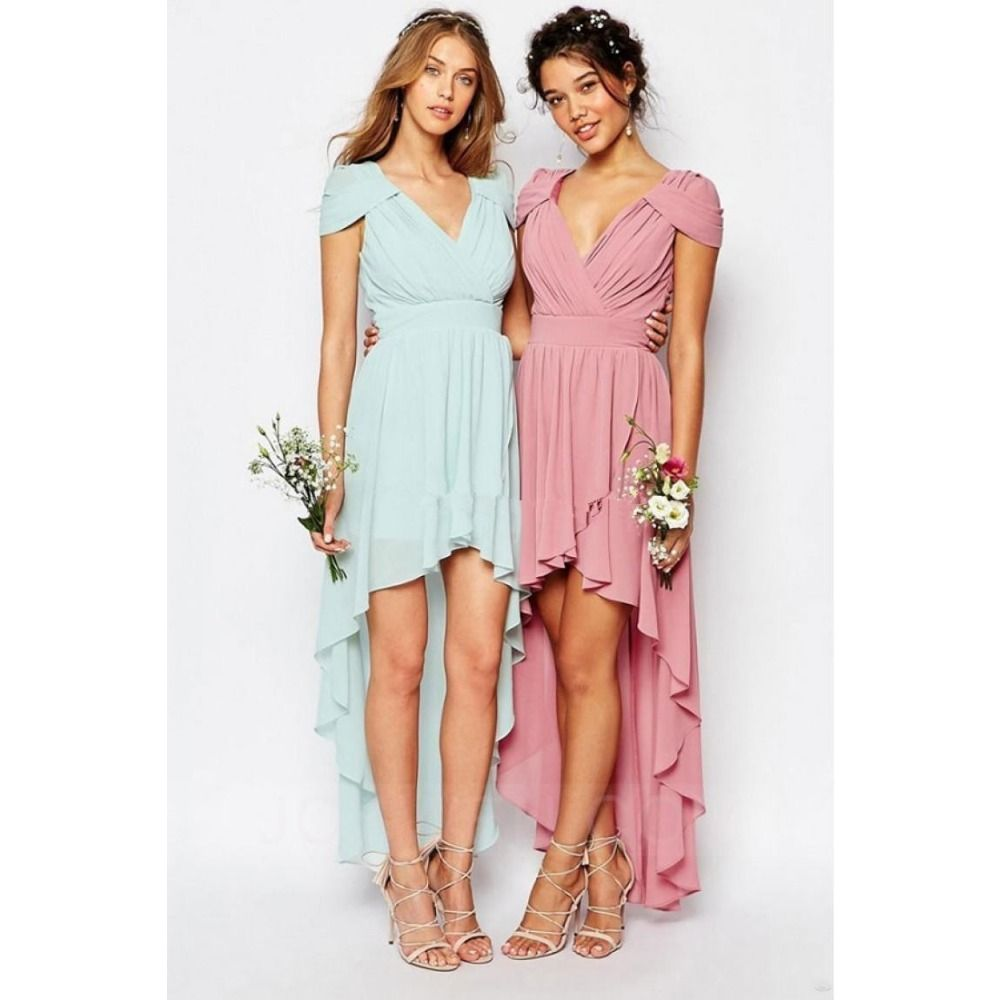 Pinklight green vneck chiffon bridesmaid dresses sleeveless