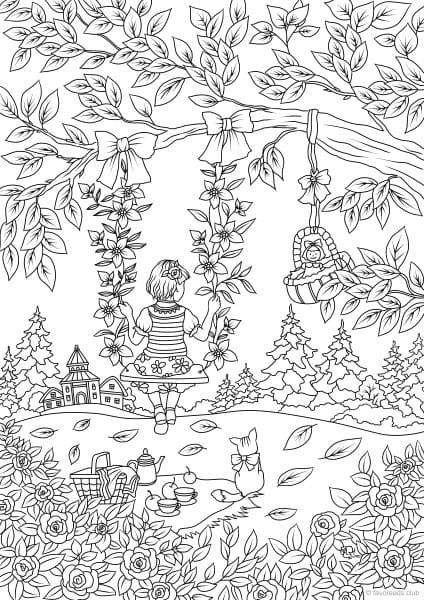 Country Spring Girl On The Swing Coloring Page Spring Coloring Pages Coloring Books Garden Coloring Pages