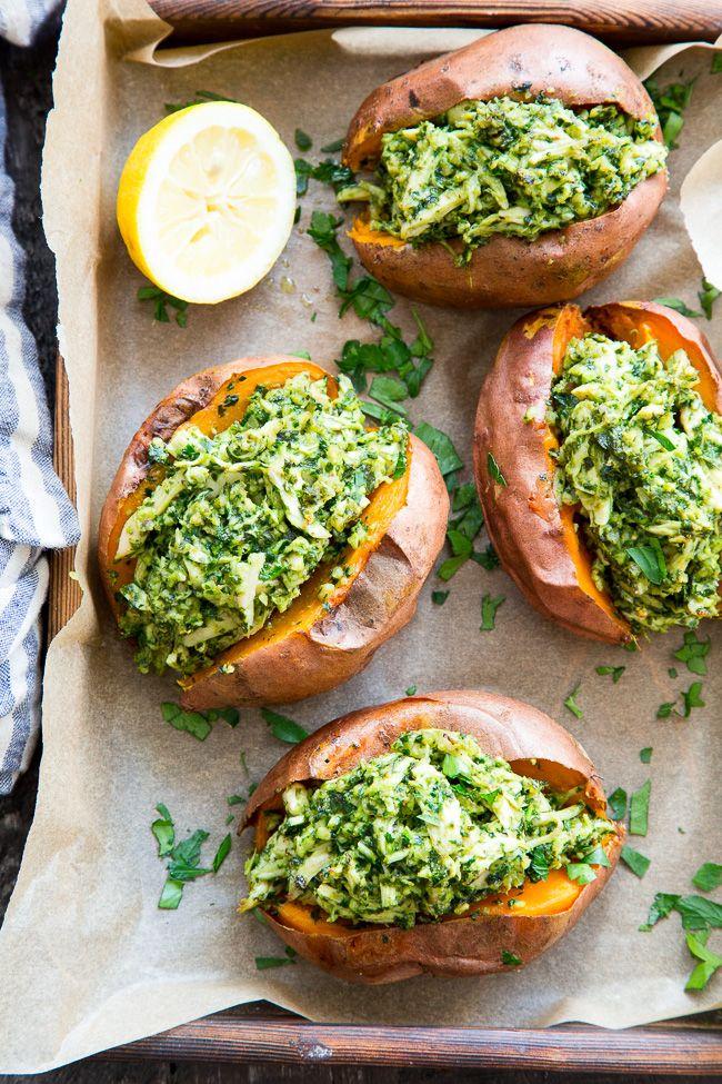 Chicken Pesto Stuffed Sweet Potatoes {Paleo, Whole30} #whole30recipes