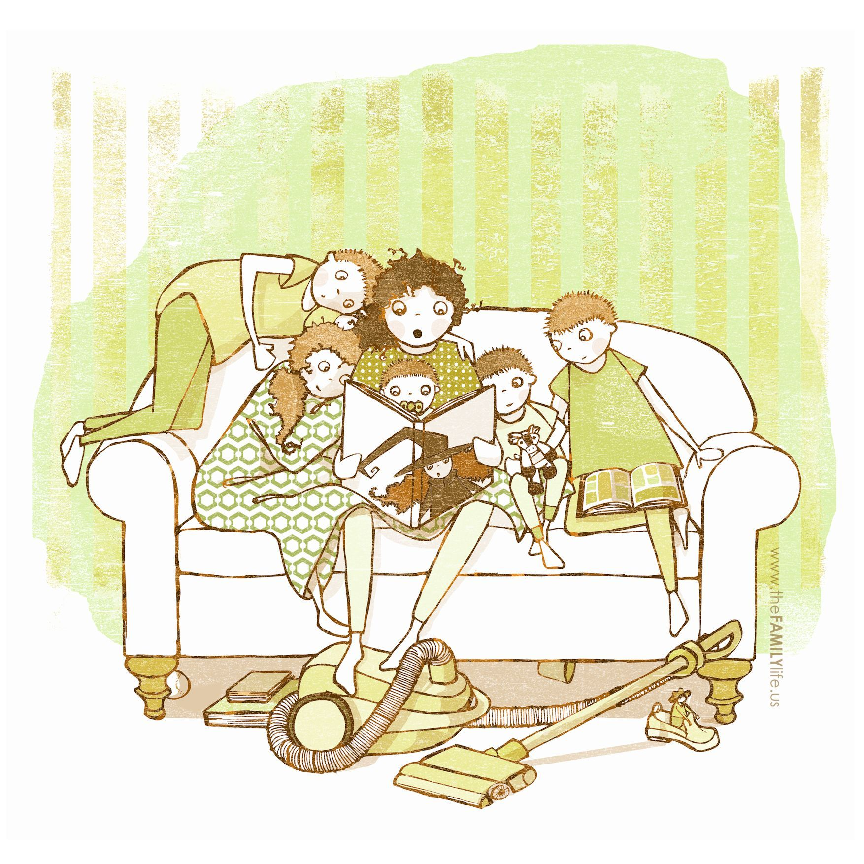 Mom Reading Witch Stories To Her Children