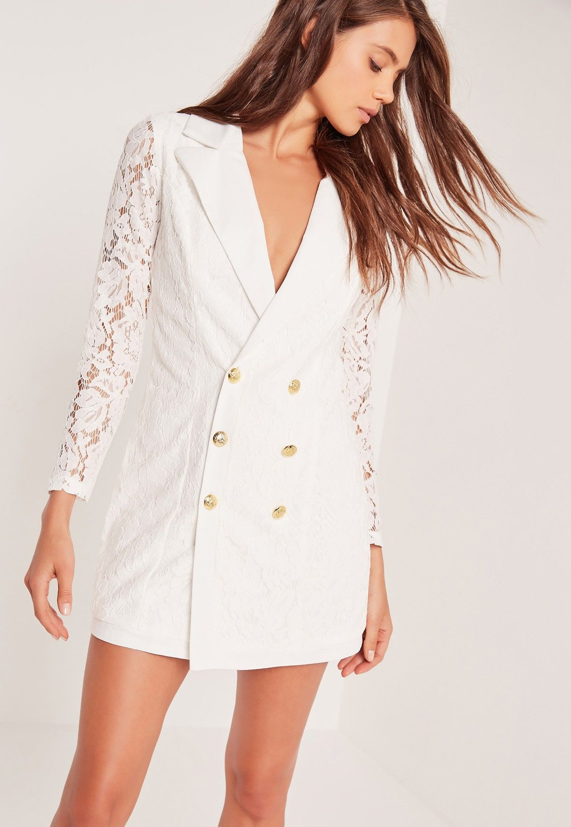 Missguided  Lace Blazer Dress White