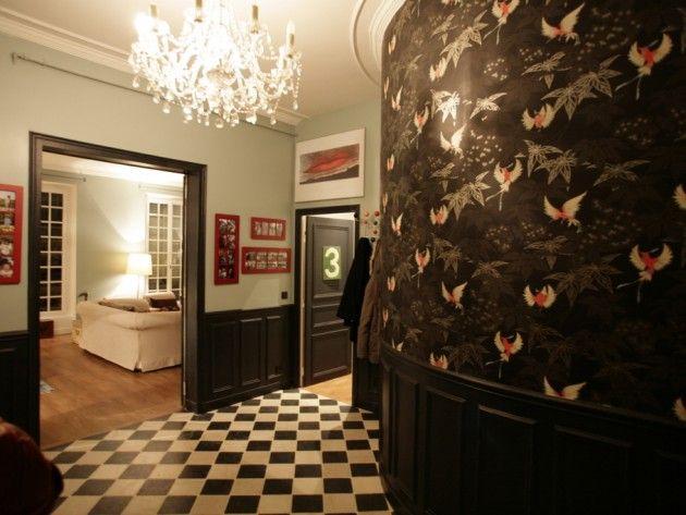 Entr e d coration noir et blanc avec carrelage mosa que - Decoration entree appartement ...