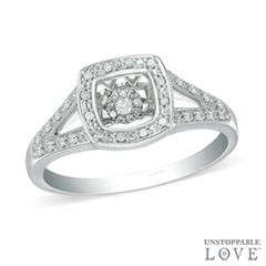 Unstoppable Love™ 1/10 CT. T.W. Diamond Split Shank Ring in Sterling Silver - Size 7 - - View All - PAGODA.COM