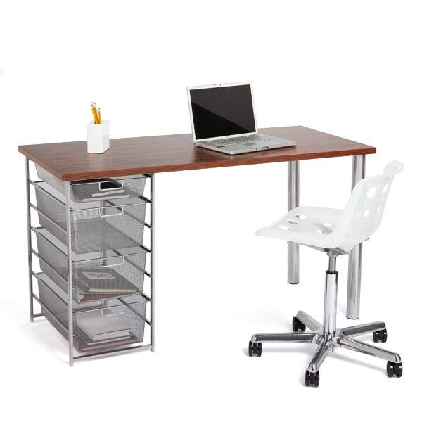 The Container Store U003e Zebrawood U0026 Platinum Elfa Mesh Component Desk · Desk  CraftsWholesale Office SuppliesGuest ...