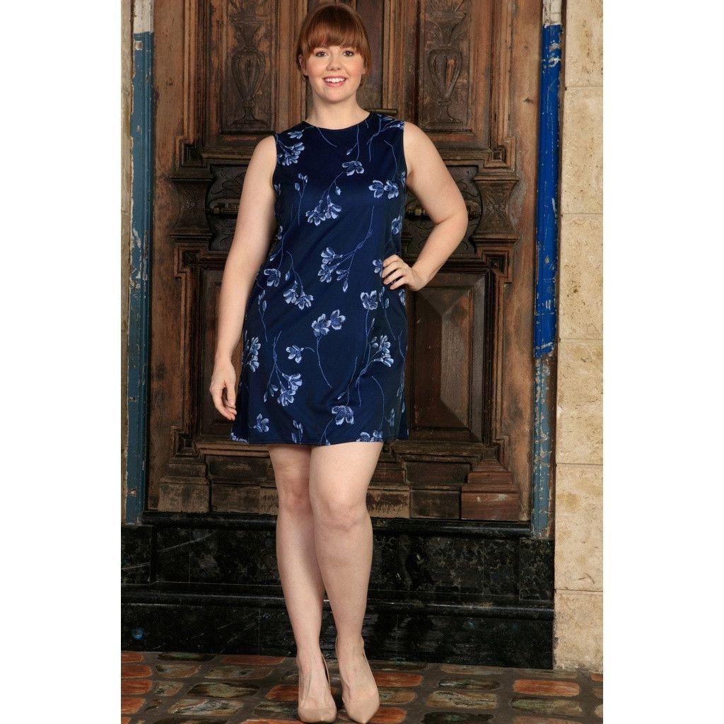 Navy blue floral sleeveless chic evening sexy shift dress women
