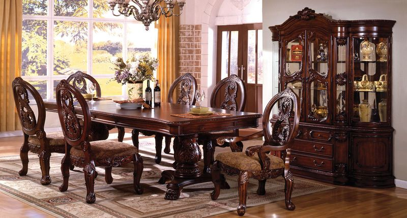 Tuscany Formal Dining Room Set In Cherry With Pedestal Table Alluring Formal Dining Room Collections Decorating Design