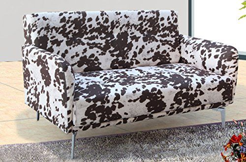 US Pride Furniture Emma Cowhide Pattern Fabric Modern Loveseat