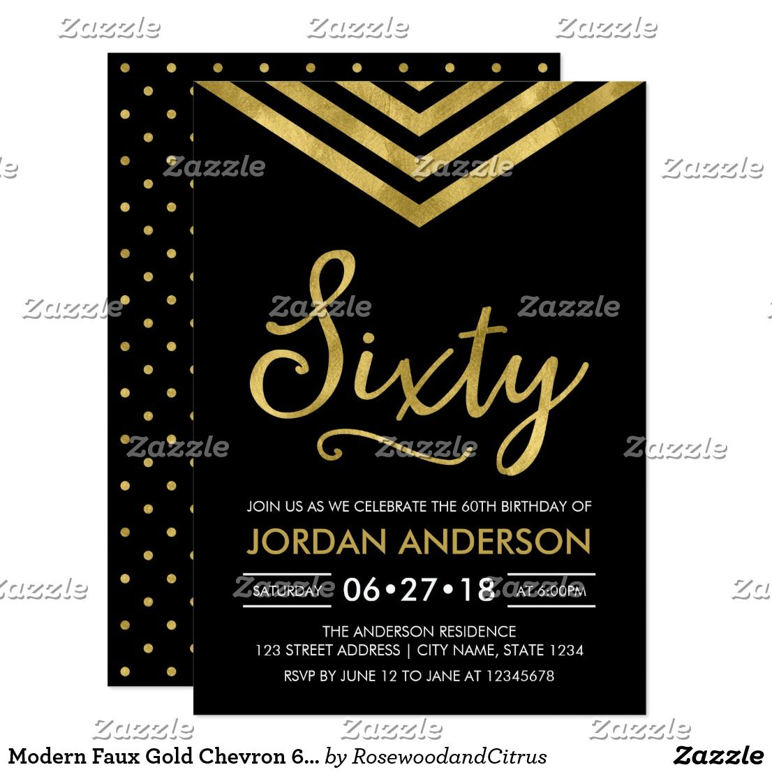 Modern Faux Gold Chevron 60th Birthday Party Invitation | Pinterest ...
