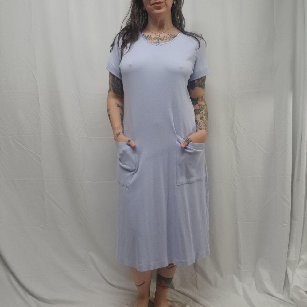0d18d6f0c9 nwot LANDS END Womens M Short Sleeve Supima Cotton Pockets Nightgown  Lavender  LandsEnd  Gowns
