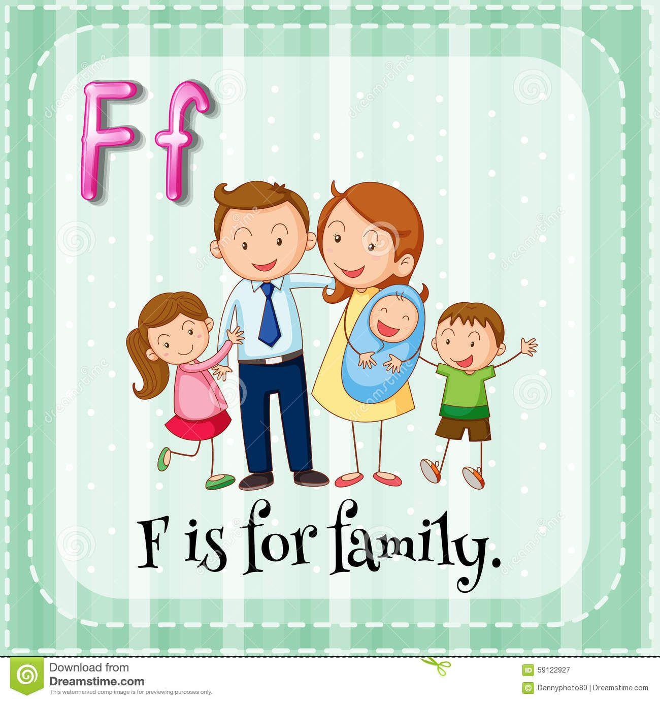 Flashcard Letter F Family Illustration 1 300