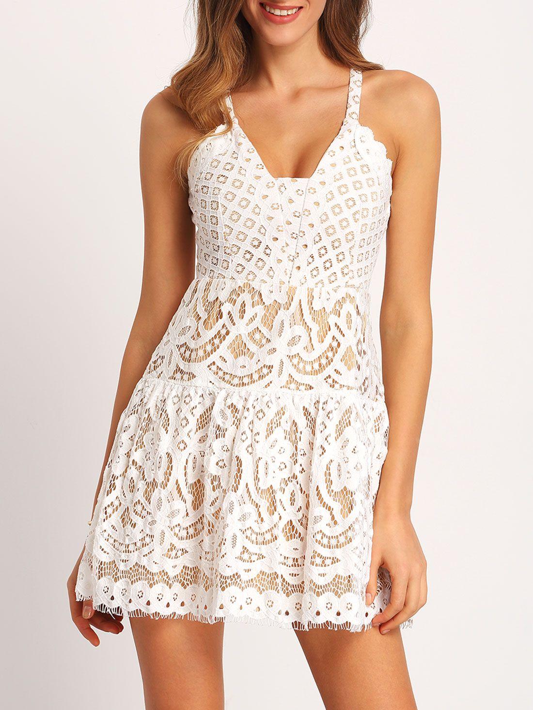 White Spaghetti Strap Hollow Lace Dress Shein Sheinside Lace Dress Lace White Dress White Spaghetti Strap Dress [ 1465 x 1100 Pixel ]