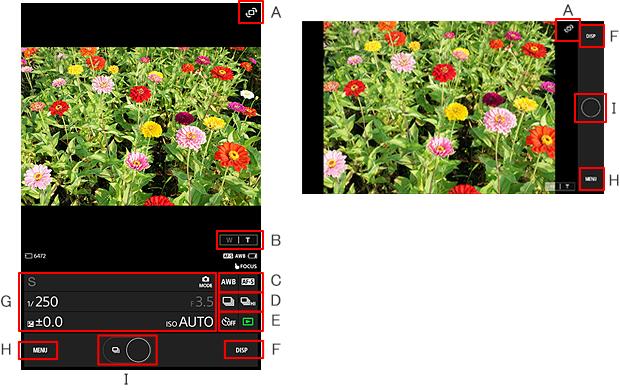 Smartphone-Bedienungsbildschirm | Bedienung | Imaging Edge
