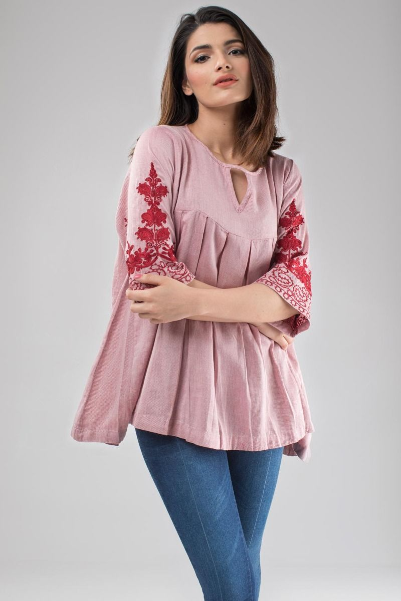 Khaadi western top collection has this beautiful box pleated shirt ...