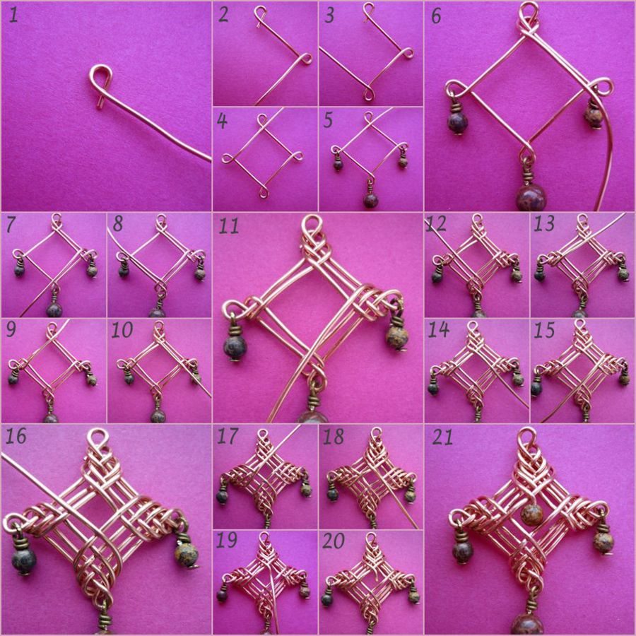 Picture tutorial for wire wrapped earrings.. Not in English but ...