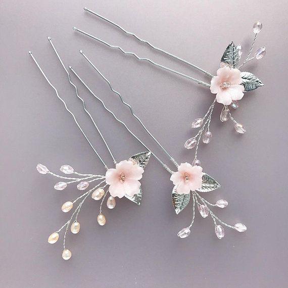 Blush pink pearl hair pin, Bridal set of 3 hair pins, Wedding pearl and crystal hair piece, Baby bre #bridalshops