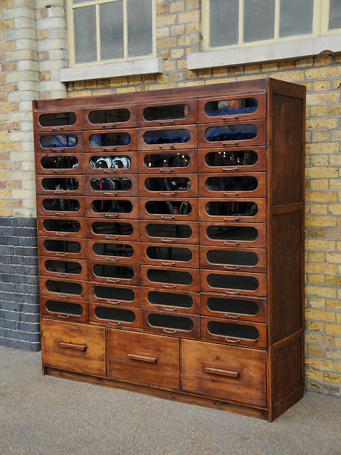 Antique haberdashery cabinet with 40 curved glass drawers with ...