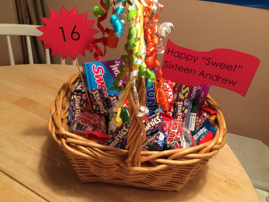 """Candy basket for a boy's """"sweet"""" 16th birthday. Emphasis"""