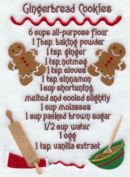 gingrbread cookie recipies | ... Embroidery Designs at Embroidery ...