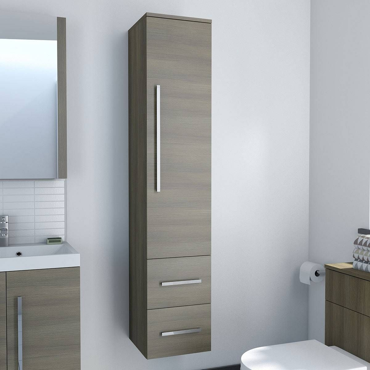 Drift Walnut Tall Cabinet Bathroom Tall Cabinet Thin Bathroom Cabinet Tall Bathroom Storage