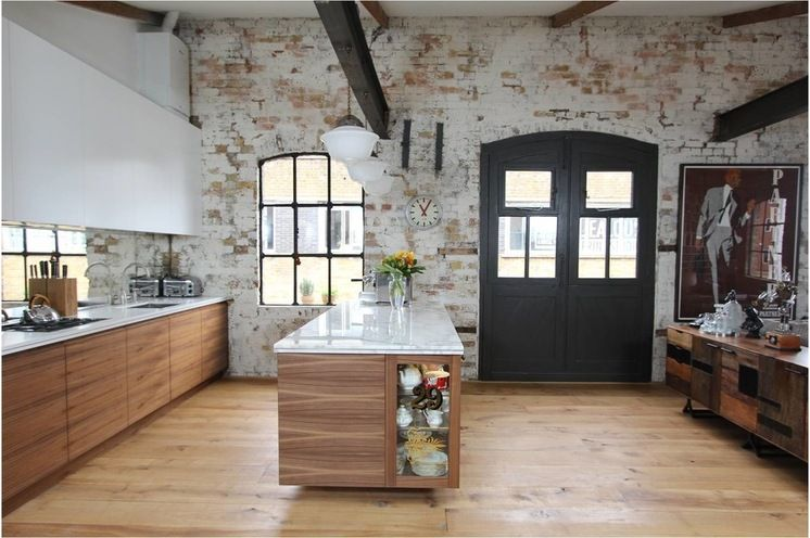 White Upper Cabinets Walnut Lower Cabinets Industrial Kitchen By